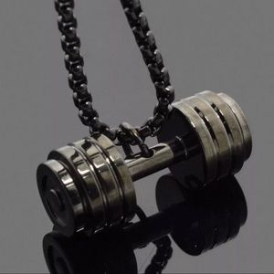 S teel Barbell Dumbbell Pendant Necklace
